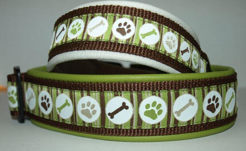 Halsbänder mit Borte doggy stripes in grün